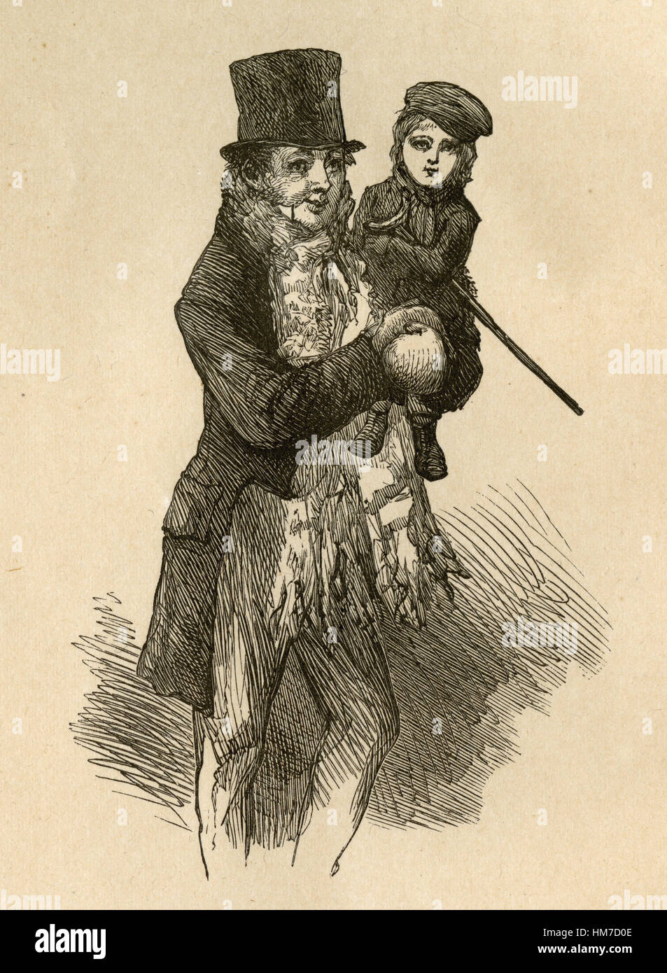 Tiny Tim A Christmas Carol.1870 Engraving From A Christmas Carol By Charles Dickens
