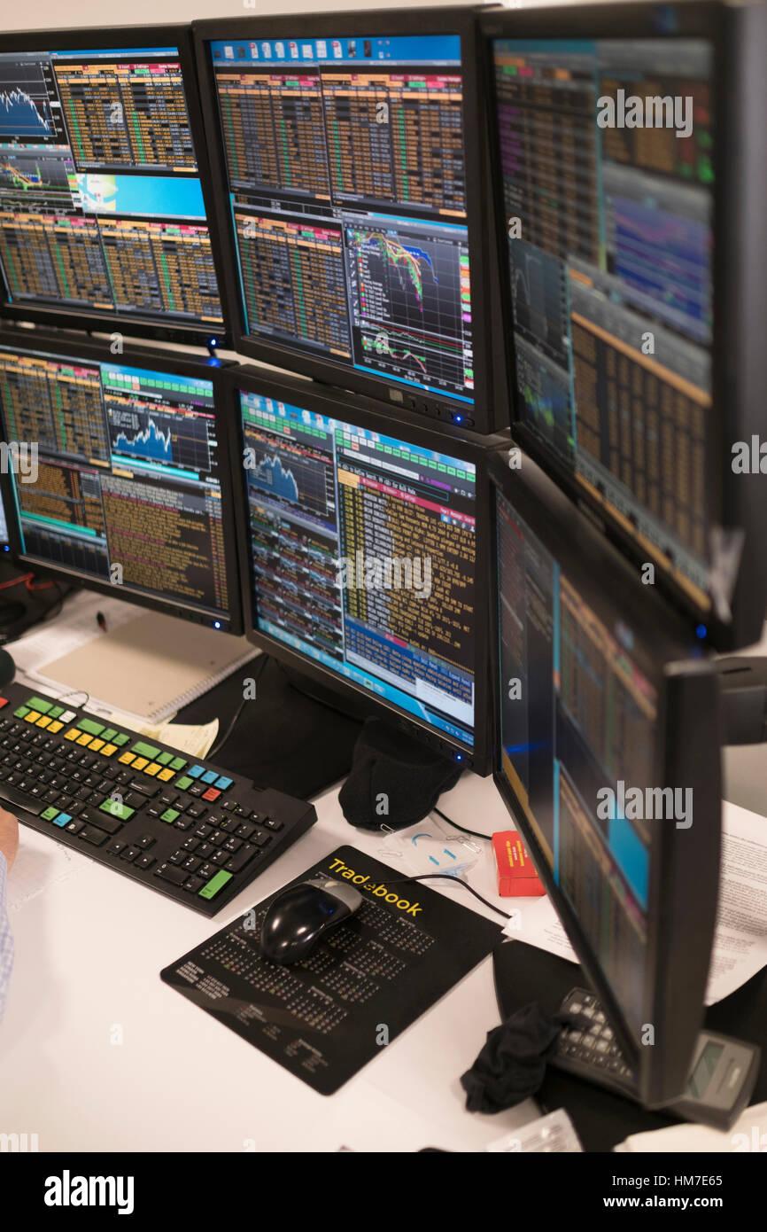 Arrangement of computer monitors - Stock Image