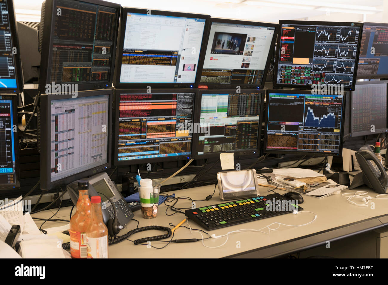 Desk with arrangement of computer monitor - Stock Image