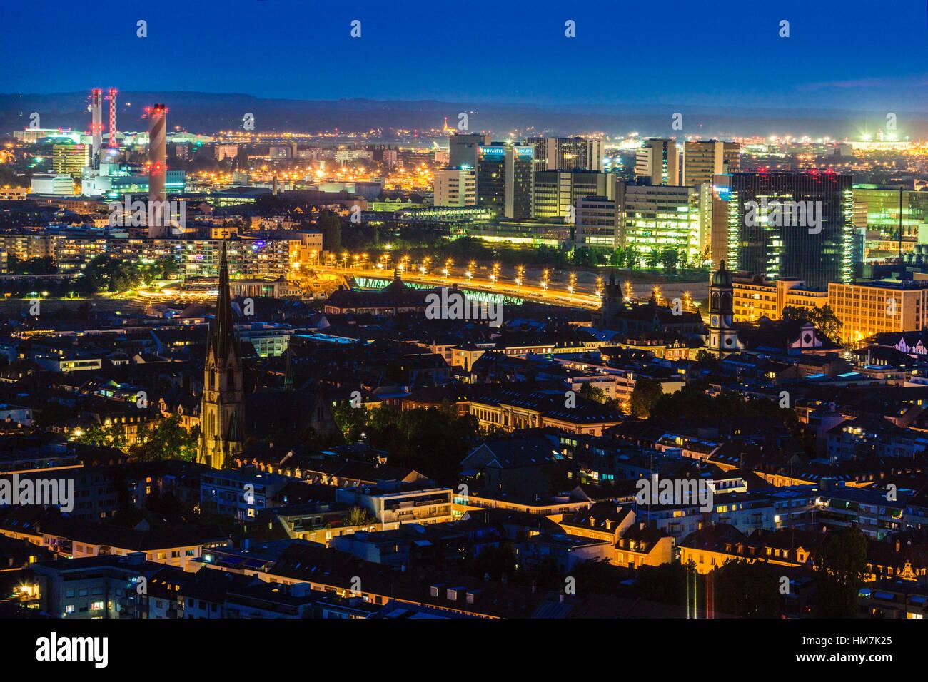 Switzerland, Basel, Basel-Stadt, Cityscape at night - Stock Image