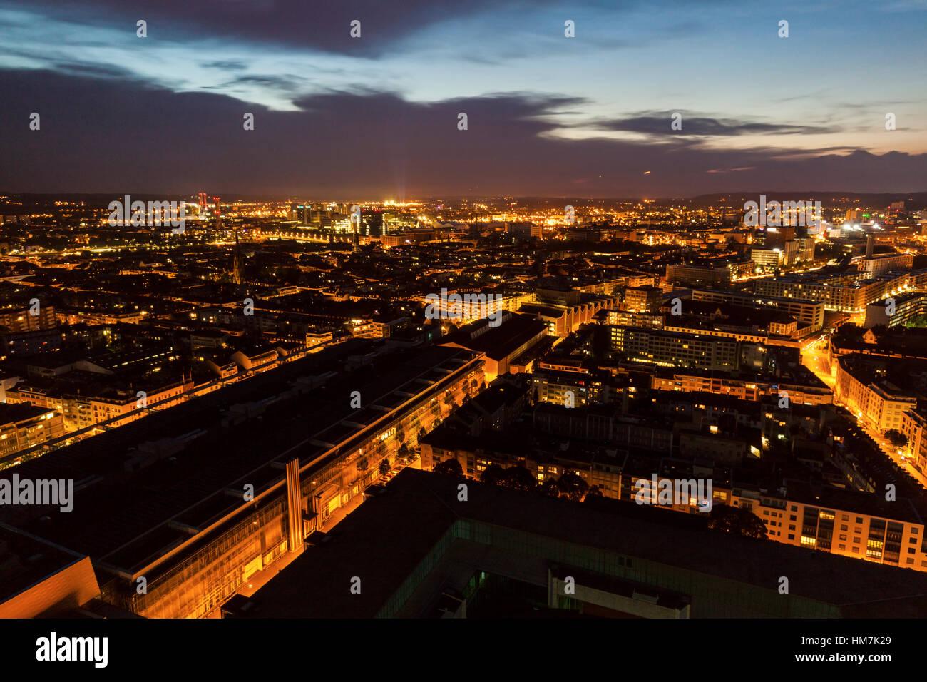 Switzerland, Basel, Basel-Stadt, Cityscape at dusk - Stock Image
