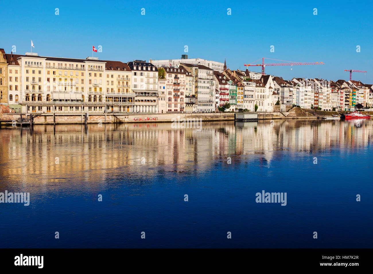 Switzerland, Basel, Basel-Stadt, Houses by Rhine River - Stock Image