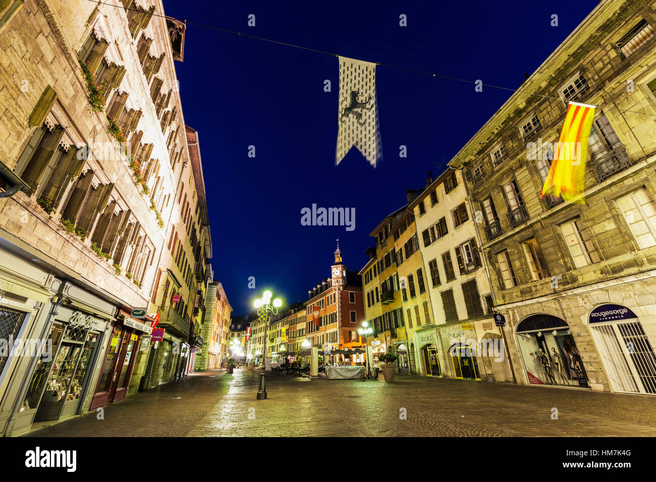 France, Auvergne-Rhone-Alpes, Chambery, Street at night - Stock Image