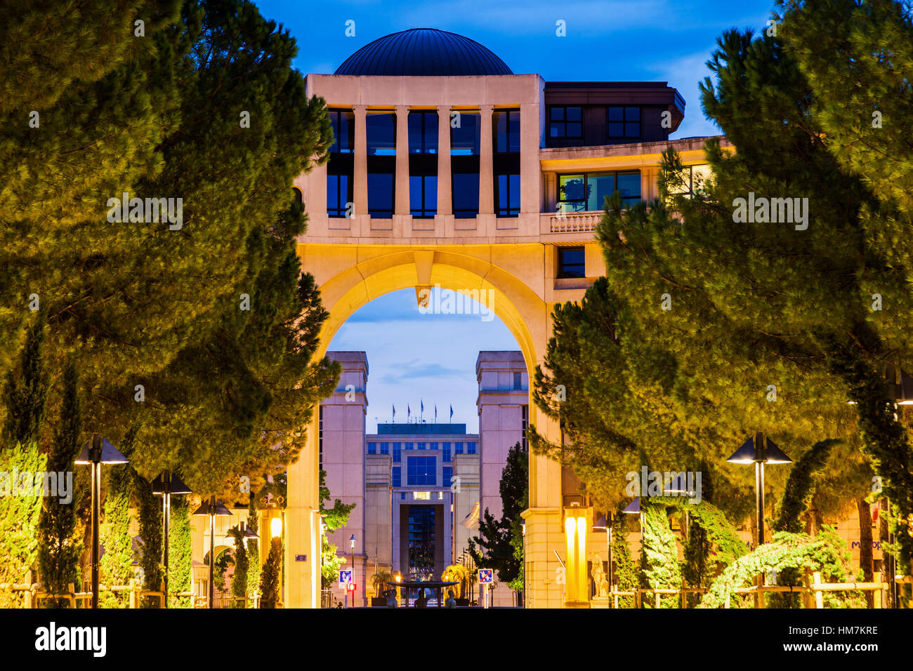 France, Occitanie, Montpellier, Modern architecture of Quartier Antigone - Stock Image