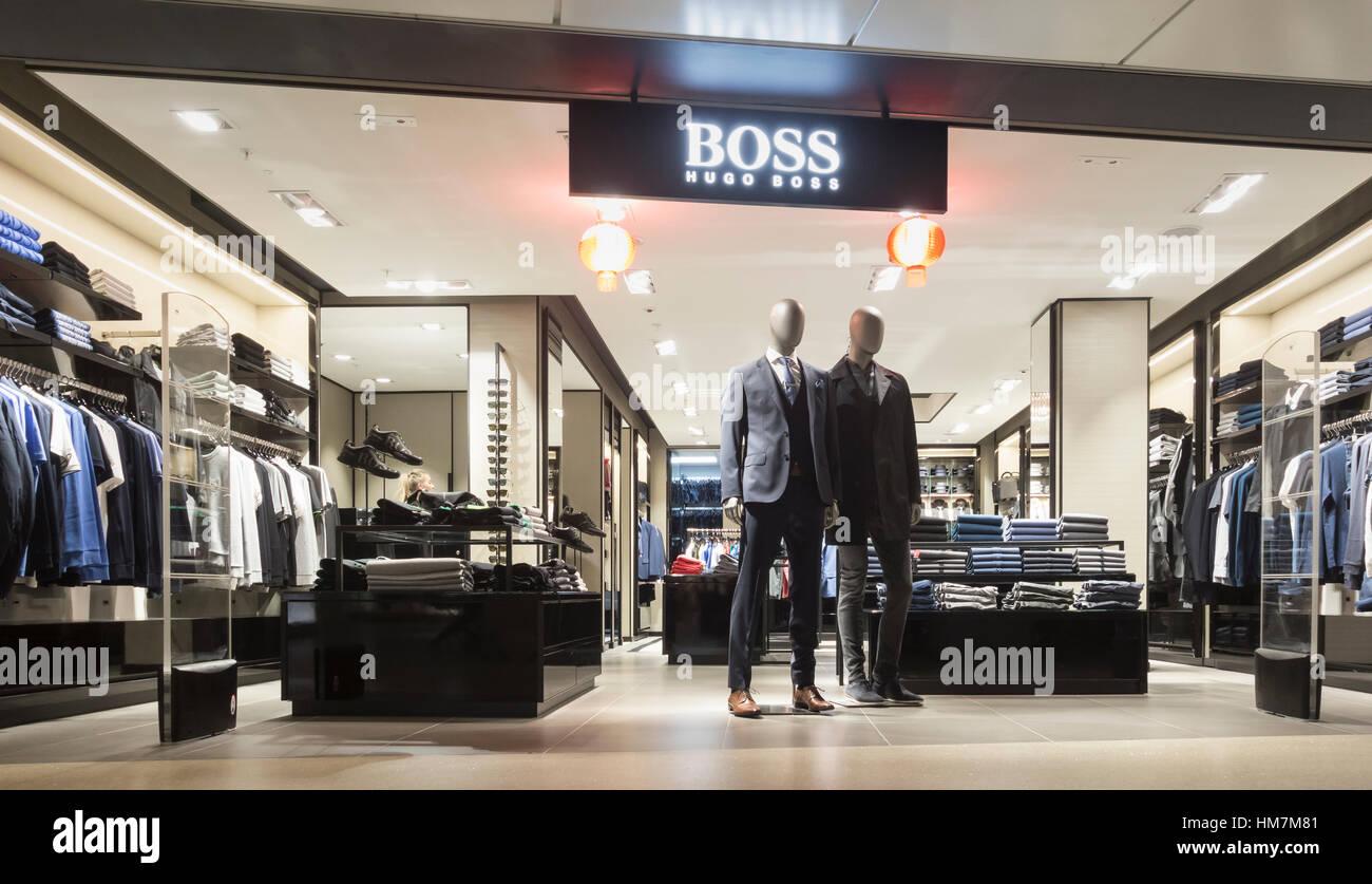 aadd2660fe8 Hugo Boss shop in Manchester airport duty free shopping zone. UK ...