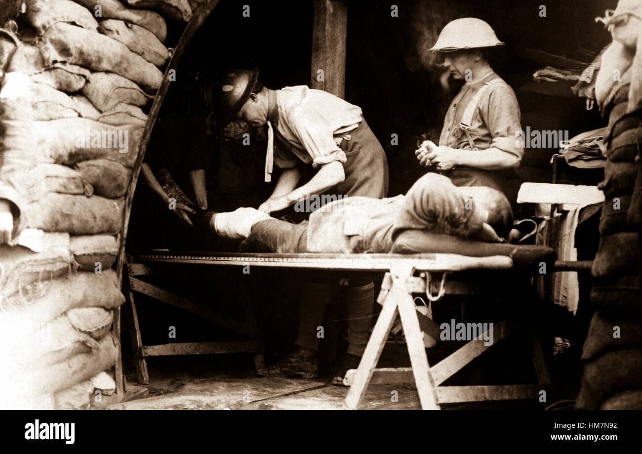 On the British Western Front during Battle of Menin Road.  Scottish territorials being examined in a dressing station. - Stock Image