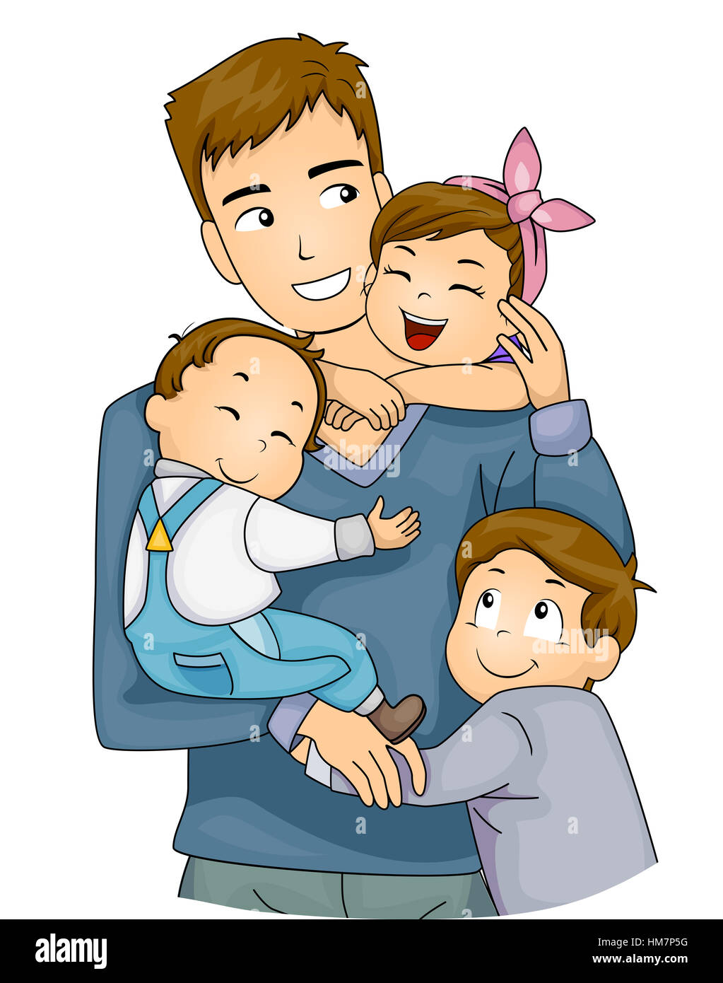 Illustration of Cute Little Kids Hugging Their Father ... Hugging Family Clipart