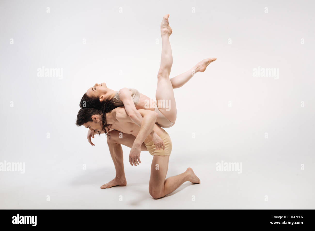 Inventive ballet dancers showing their creative ideas to the audience - Stock Image
