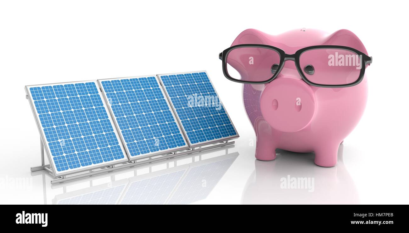 3d rendering solar panels and piggy bank on white background - Stock Image
