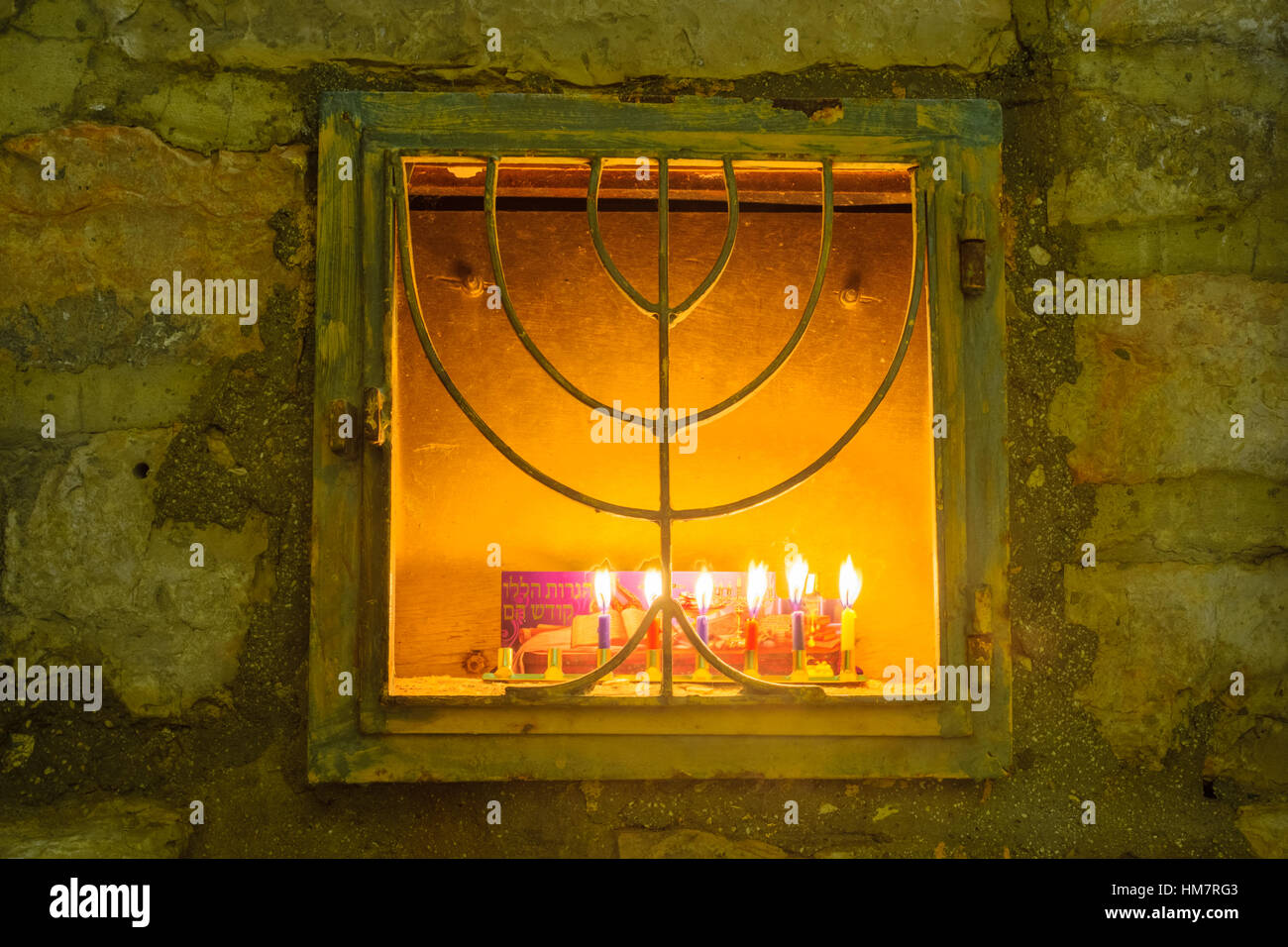 Traditional Menorah (Hanukkah Lamp), in the Jewish quarter ...