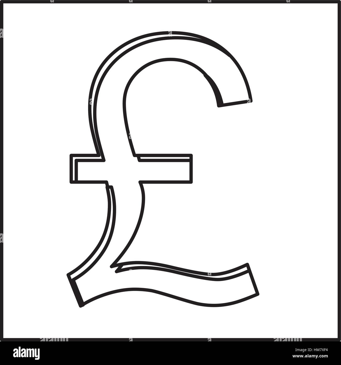 Monochrome Contour With Currency Symbol Of Sterling Pound In Square