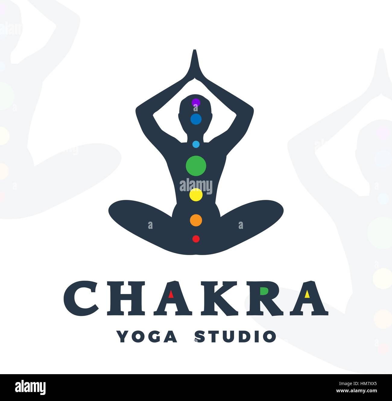 Yoga Studio Logo Template Chakra Company Logotype Meditation Pose Silhouette Design Vector Man Label Creative Wellness Illustration