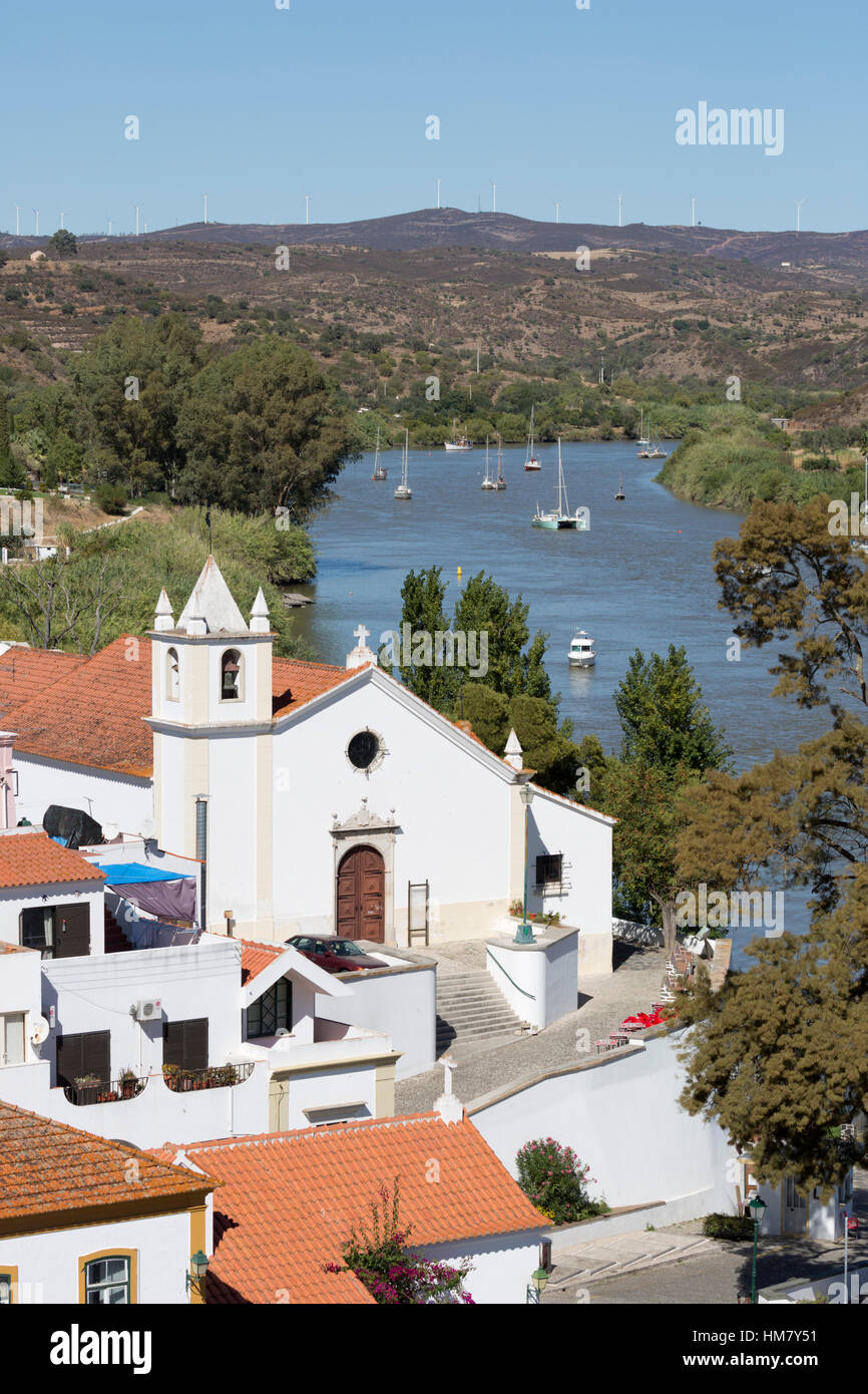 View over whitewashed village of Alcoutim on Rio Guadiana river, Alcoutim, Algarve, Portugal, Europe - Stock Image