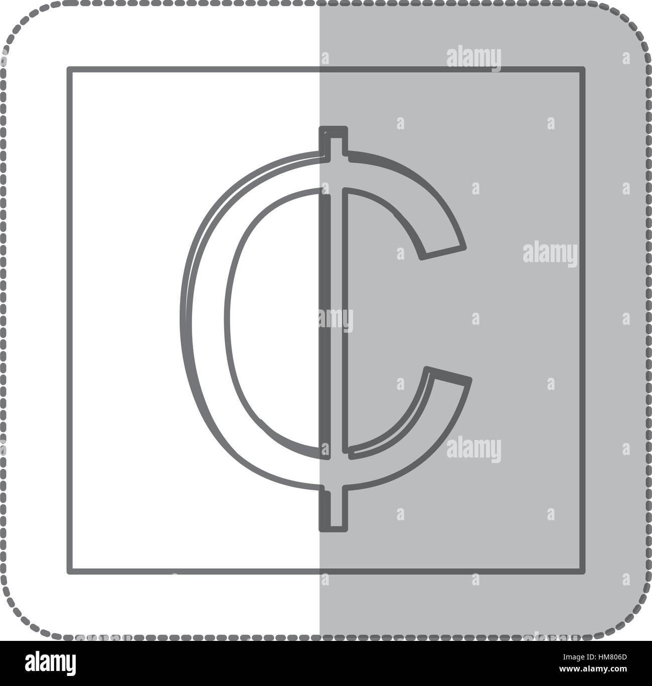 Middle Shadow Monochrome Square Currency Stock Photos Middle