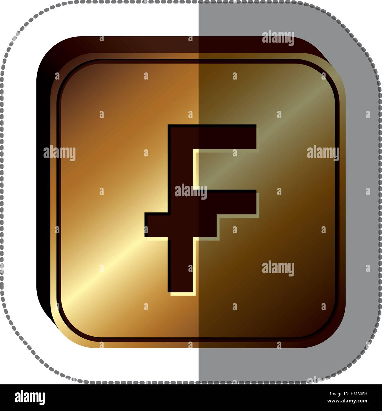 Sticker Golden Square With Currency Symbol Of Frank French And Stock