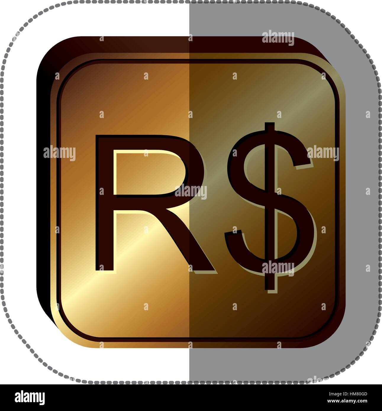Sticker Golden Square With Currency Symbol Of Brazilian Real Vector