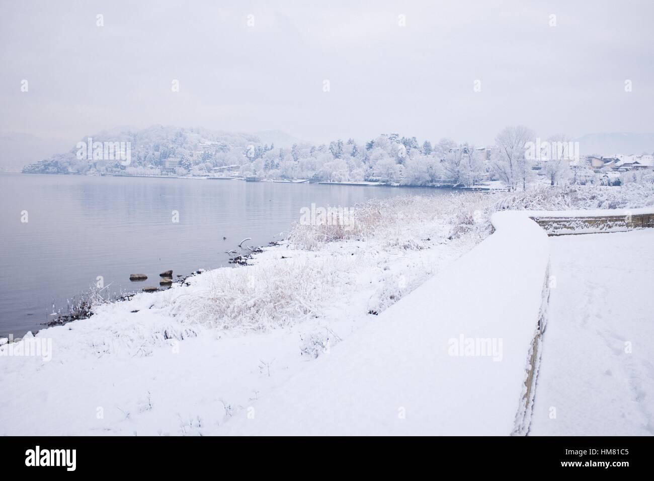 snowy lake - Stock Image