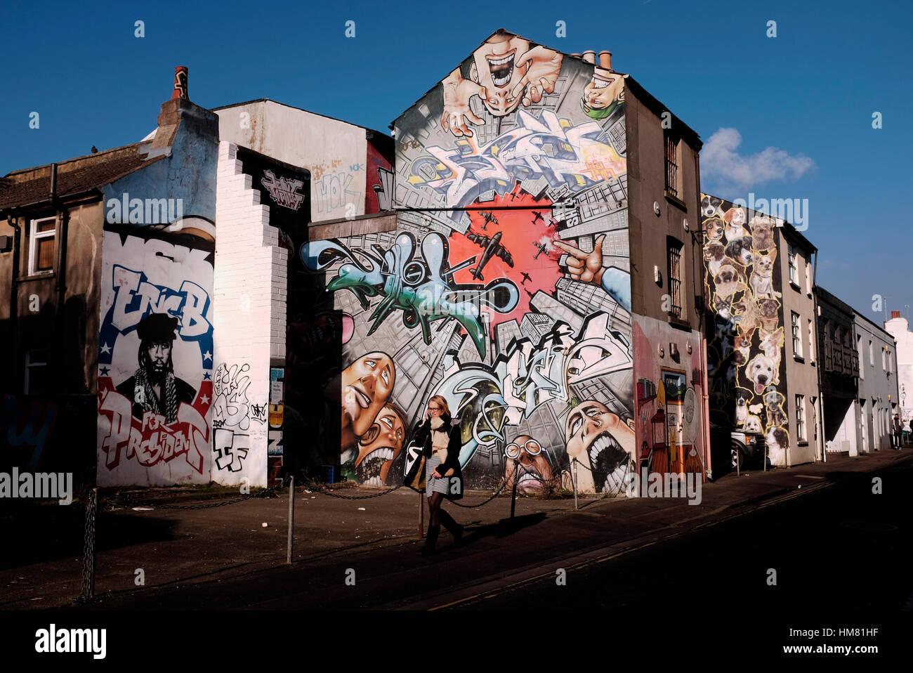 Vivid graffiti art on walls in kensington street brighton part of the bohemian north laine district