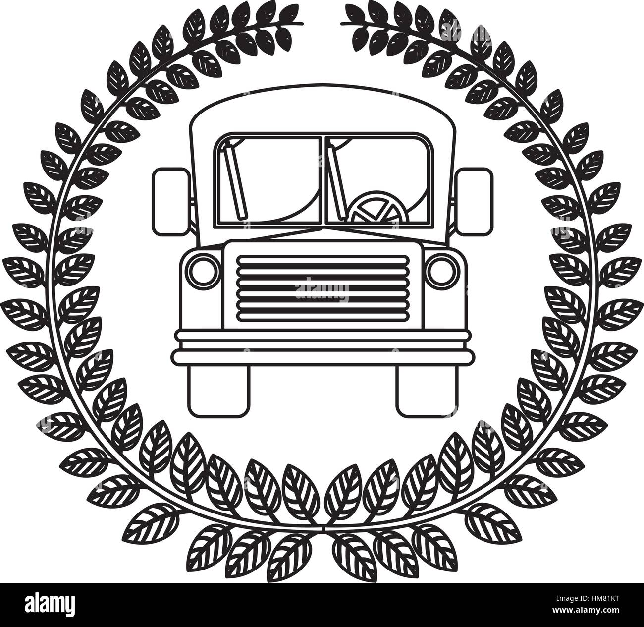 silhouette crown of leaves with school bus vector illustration - Stock Image