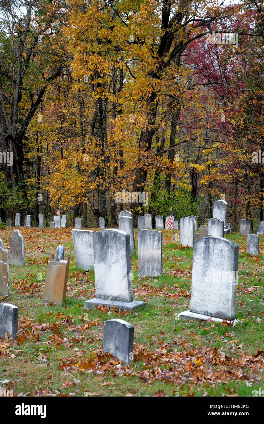 Old cemetery full of weathered headstones and old tombstones with fall trees and woods background, autumn graveyard, - Stock Image
