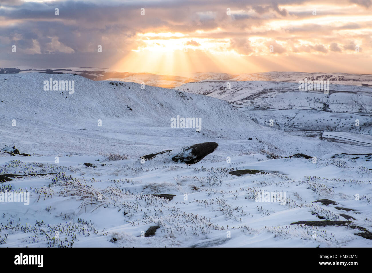 Winter in the Derbyshire Peak District from Kinder Scout - Stock Image