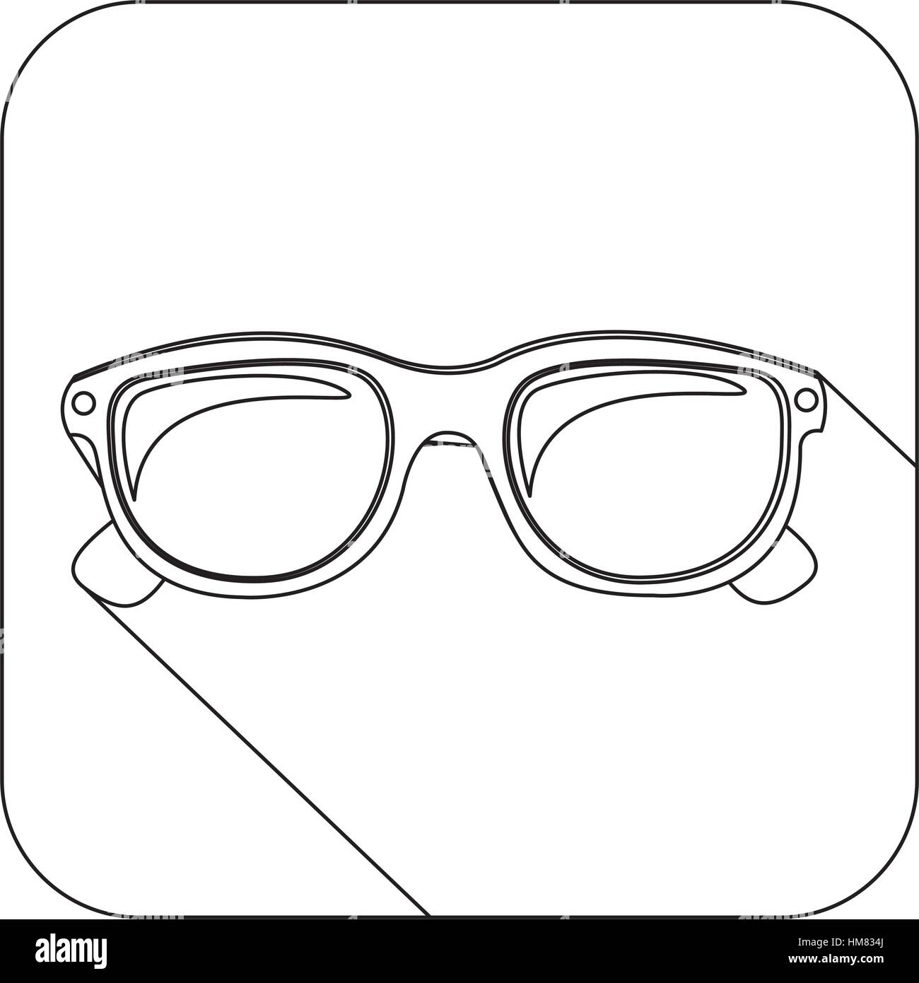 73f3bc4803b square shape with silhouette oval glasses lens vector illustration ...