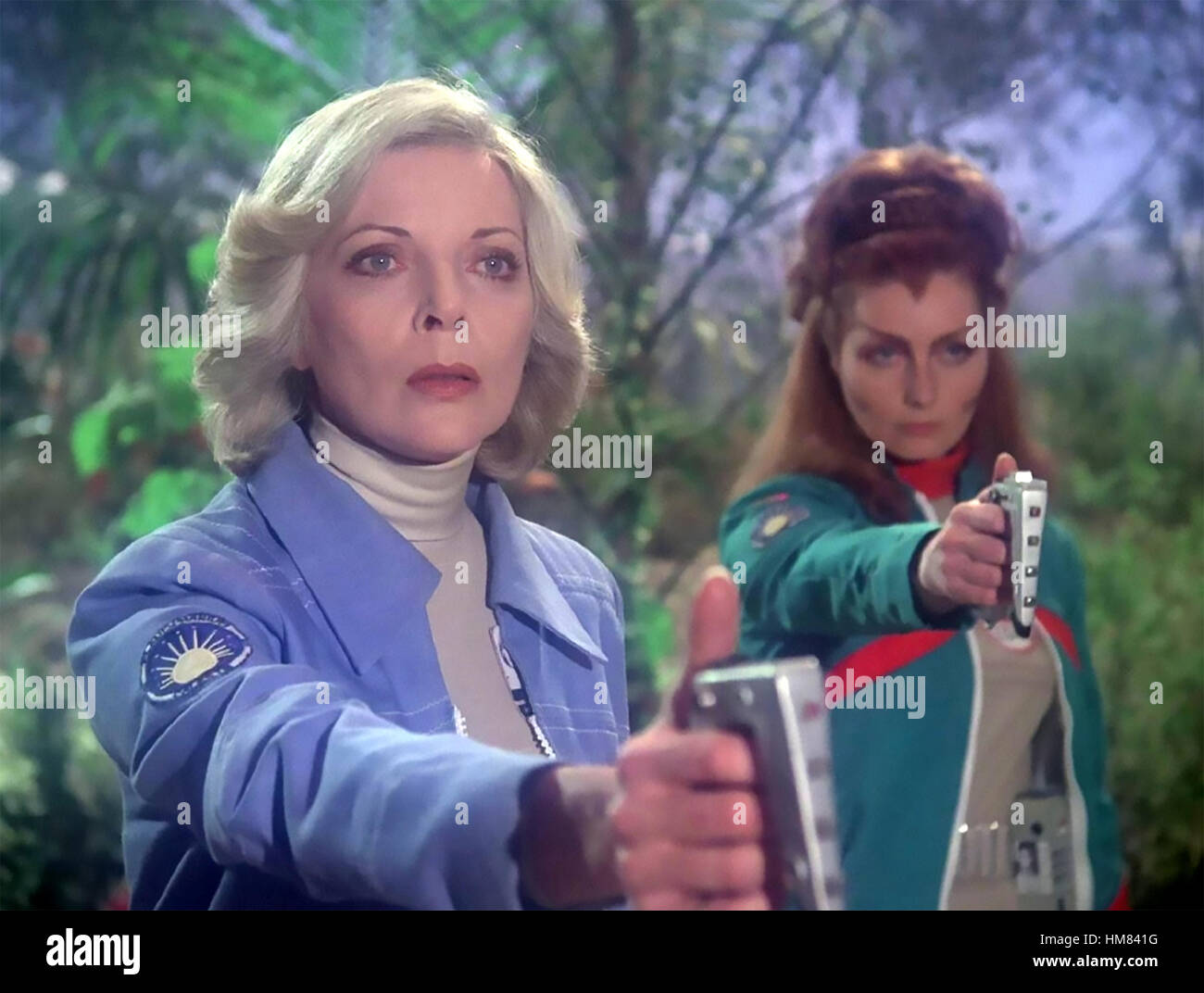 SPACE 1999 ITC/ATV  TV series 1975-1977  Barbara Bain at left and Catherine Schell - Stock Image