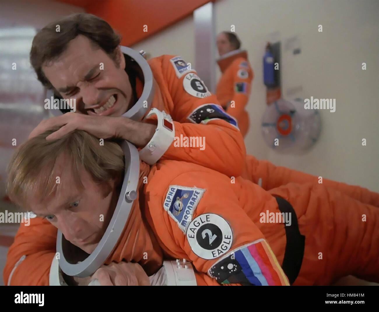 SPACE 1999 ITC/ATV  TV series 1975-1977  with Martin Landau holding down Nick Tate - Stock Image