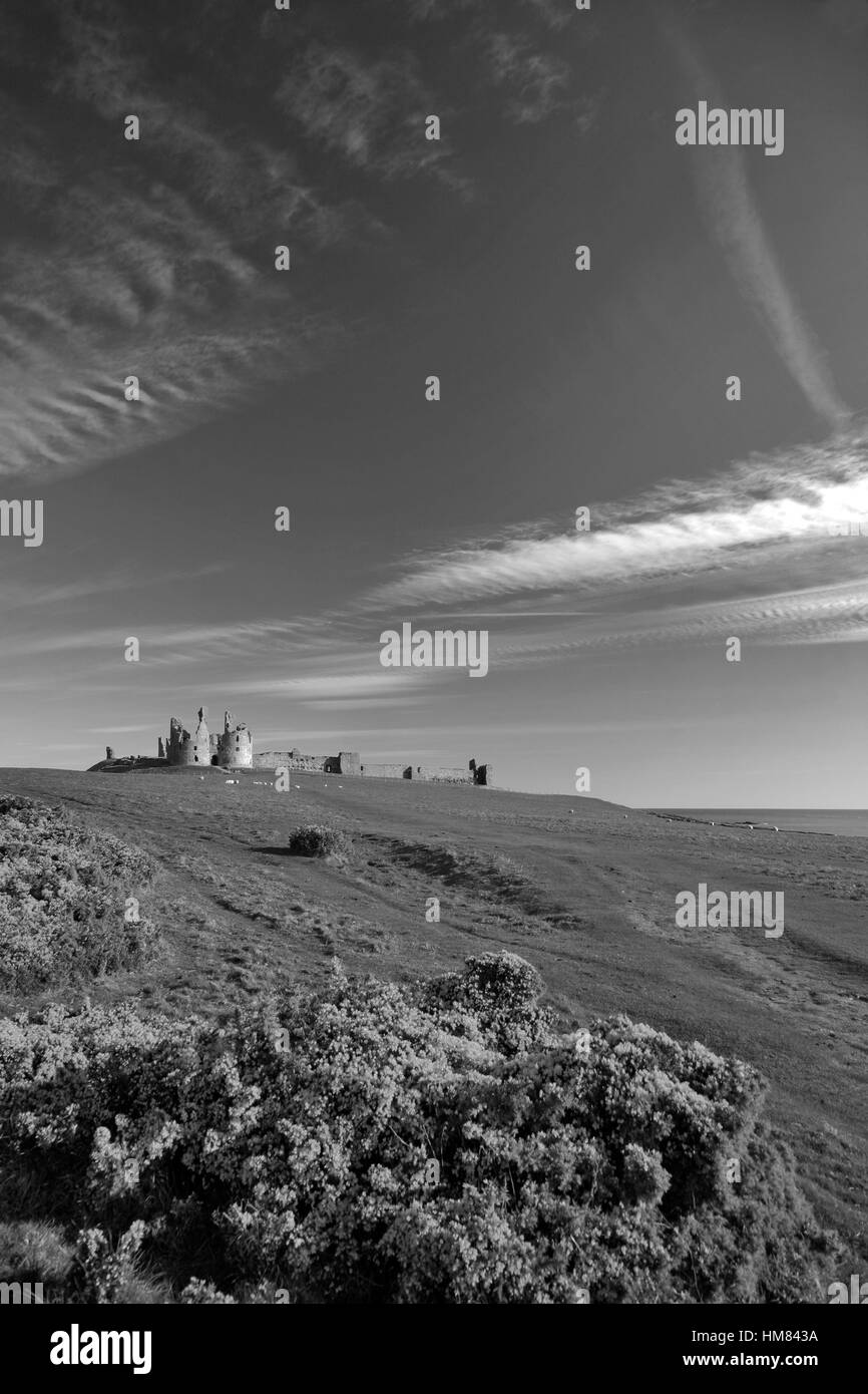 Ruins of Dunstanburgh Castle North Northumbrian Coast Northumbria County England UK - Stock Image