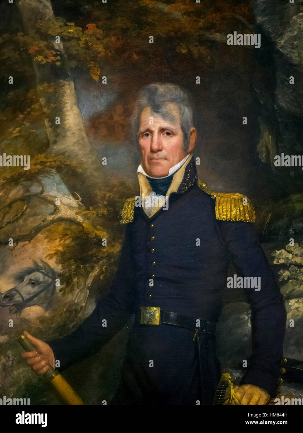 Andrew Jackson, 7th president of the United States, in General's uniform, portrait by John Wesley Jarvis, c.1819 - Stock Image
