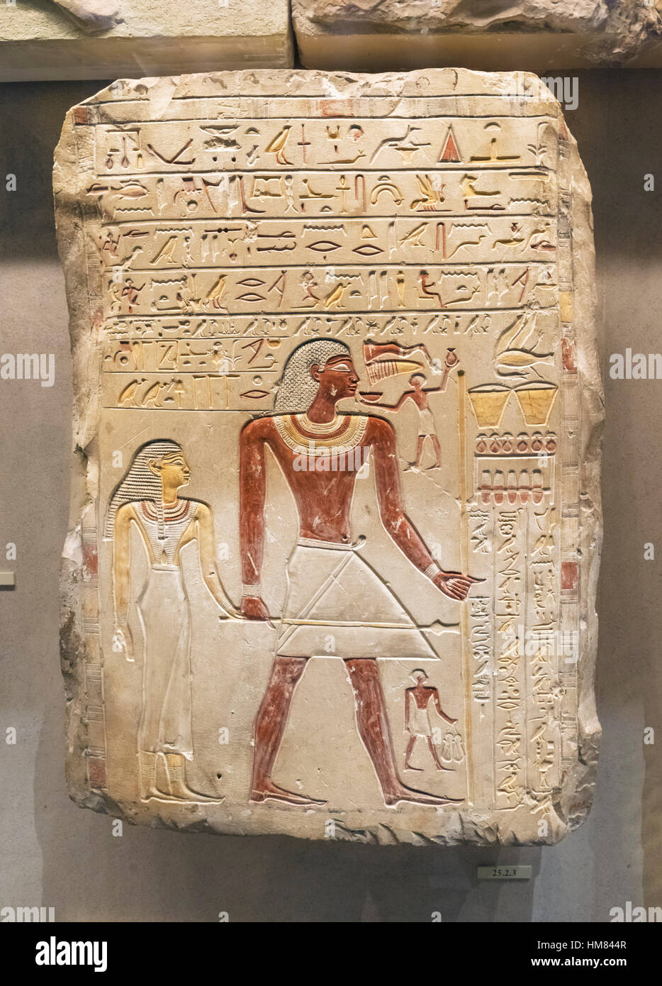 Funerary Stela of the Royal Sealer Indi and his Wife, the Priestess Hathor Mutmuti of Thinis, 8th Dynasty, c.2150 - Stock Image