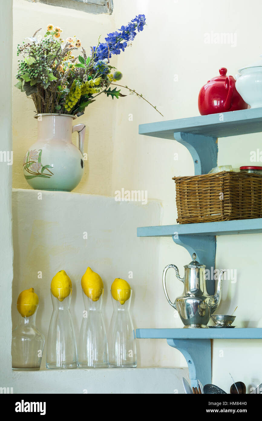 French Country Kitchen Shelves With Lemons Stock Photo 132944924