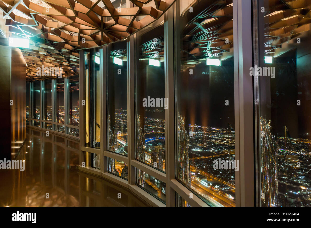 The Interior Of The Burj Khalifa In 125 Floor Wooden Decorated Stock Photo Alamy