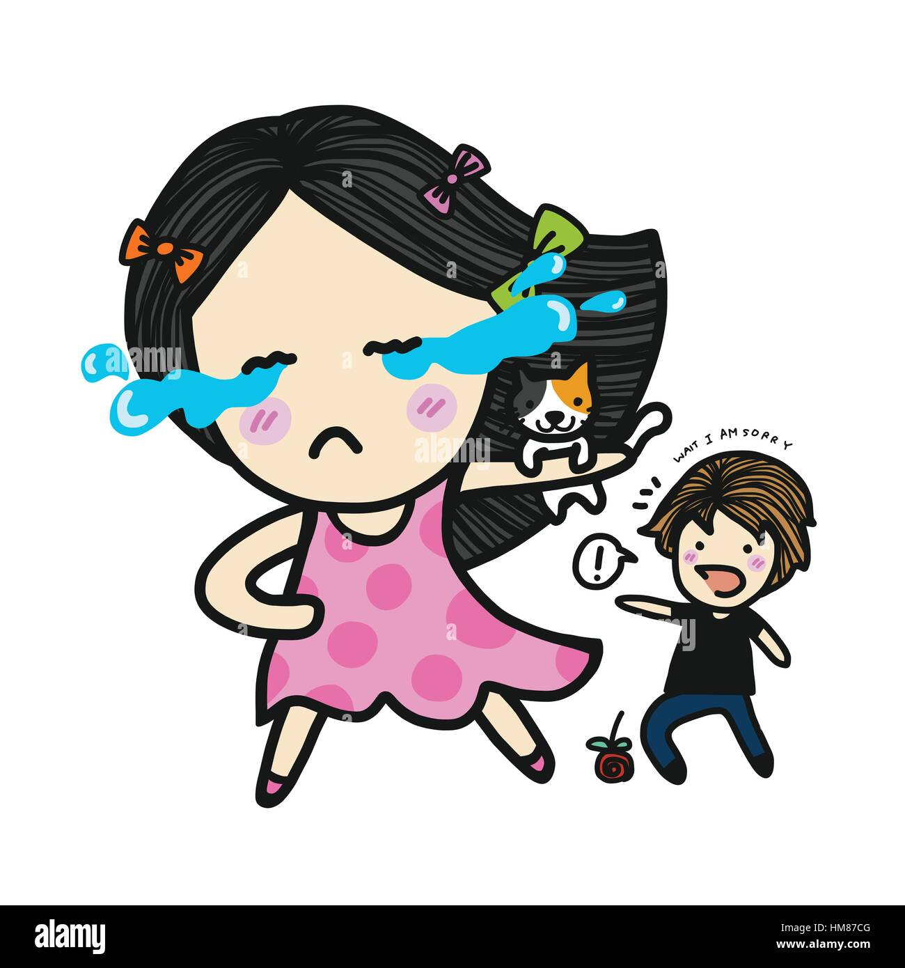 Cute Couple In Love Fighting Cry And Run Away Cartoon