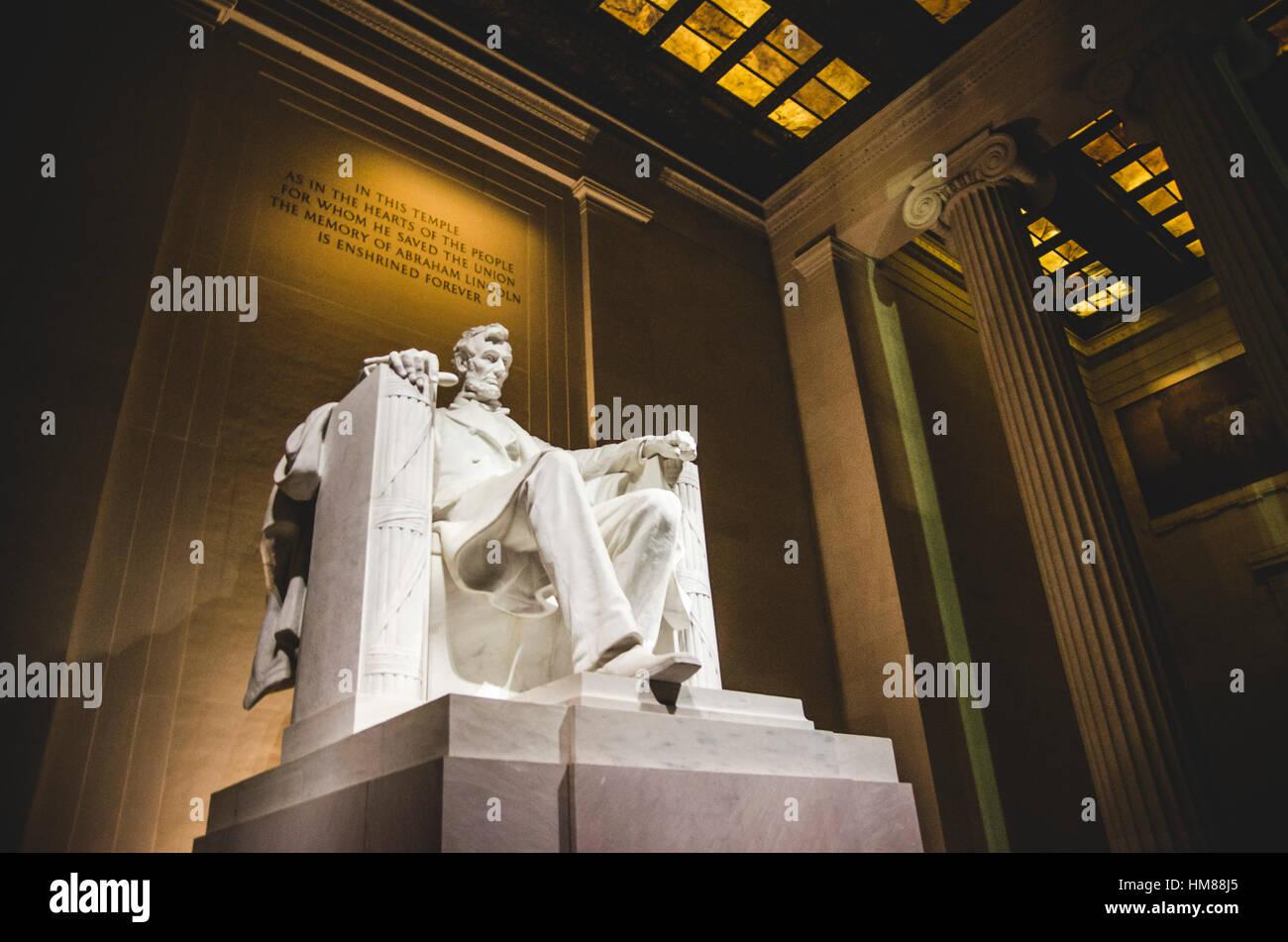 Lincoln Memorial Statue at Night, Low Angle View, Washington, DC, USA - Stock Image