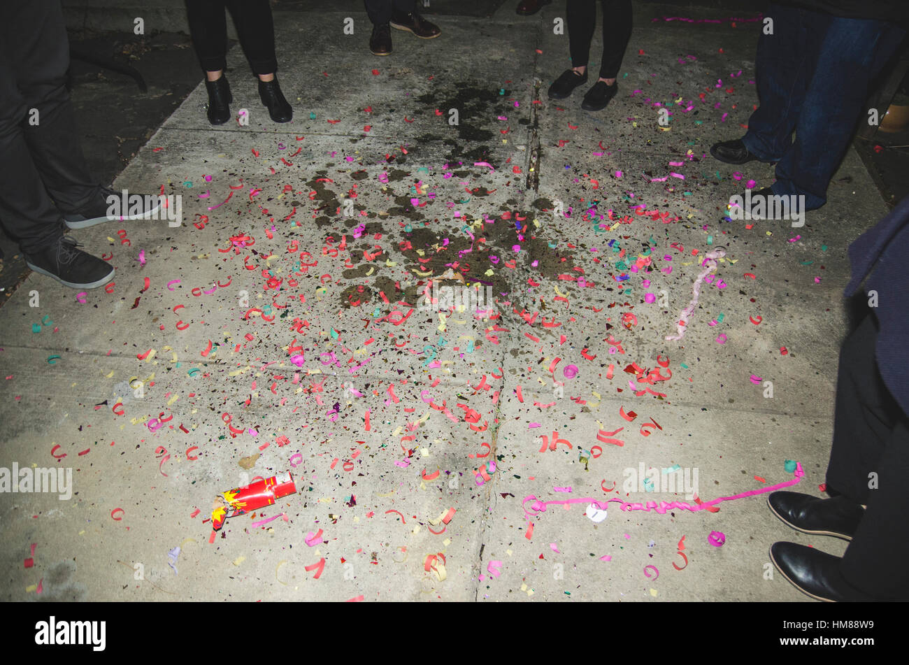 Aftermath of New Year's Eve Celebration - Stock Image