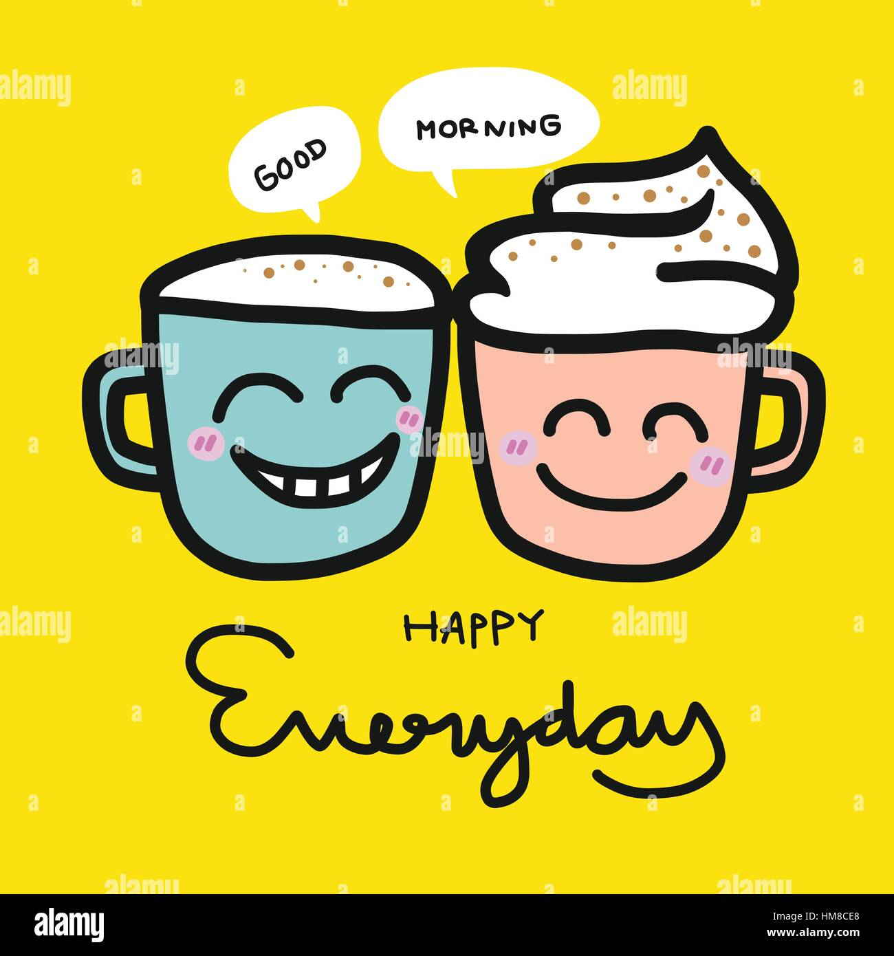 Happy everyday coffee cup cartoon illustration on yellow background - Stock Vector