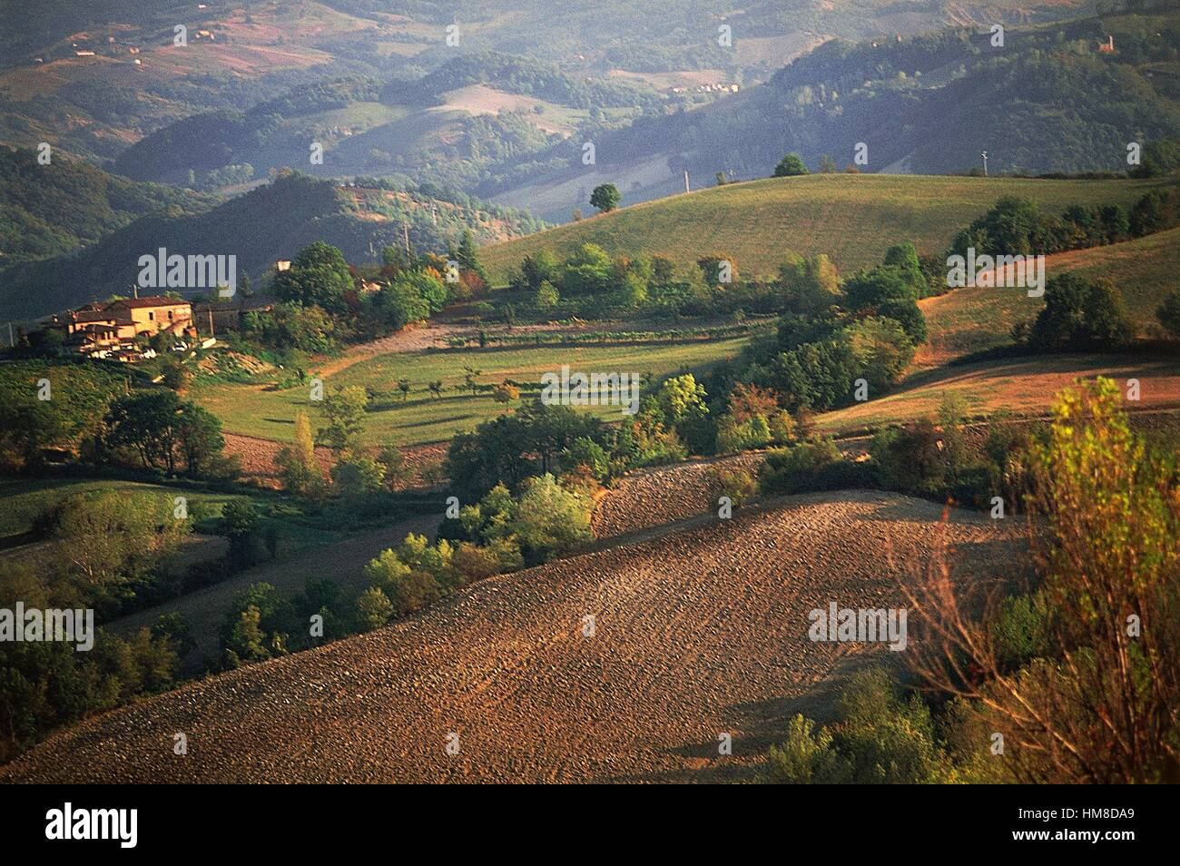 Agricultural landscape and farmstead between Castel San Pietro Terme and Sassoleone, Emilia-Romagna, Italy. - Stock Image
