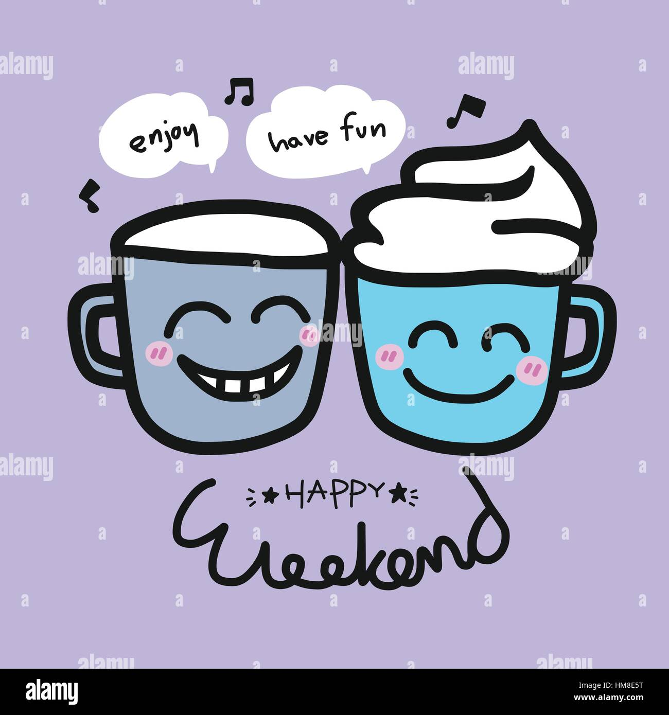Happy weekend coffee cup cartoon illustration on purple background - Stock Vector