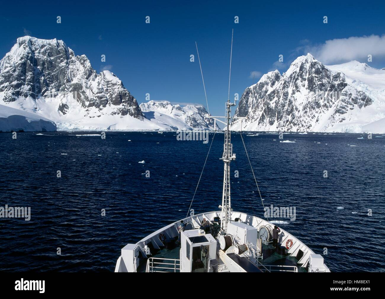 Bow of the ice-breaker research ship MS Grigory Mikheev, West coast of the Antarctic peninsula, Antarctica. - Stock Image