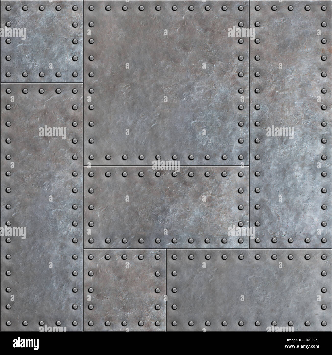 Old Stained Metal Plates With Rivets Seamless Background