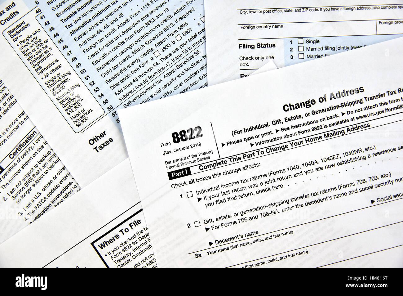 8822 Change Of Address Federal Tax Form Stock Photo 132954832 Alamy