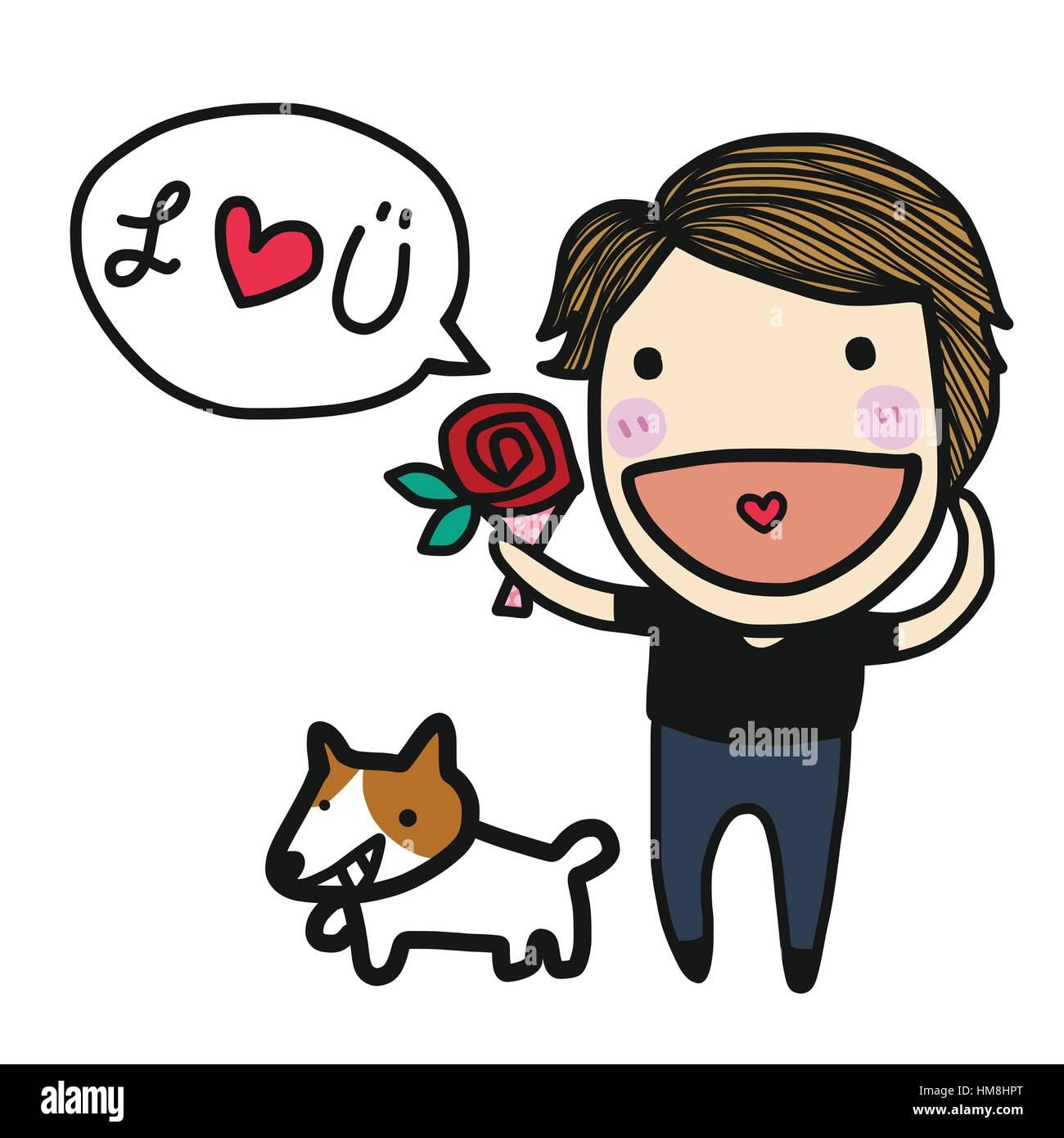 cute boy in love say i love you cartoon illustration stock vector rh alamy com John I Love You Clip Art I Love You Animated Clip Art