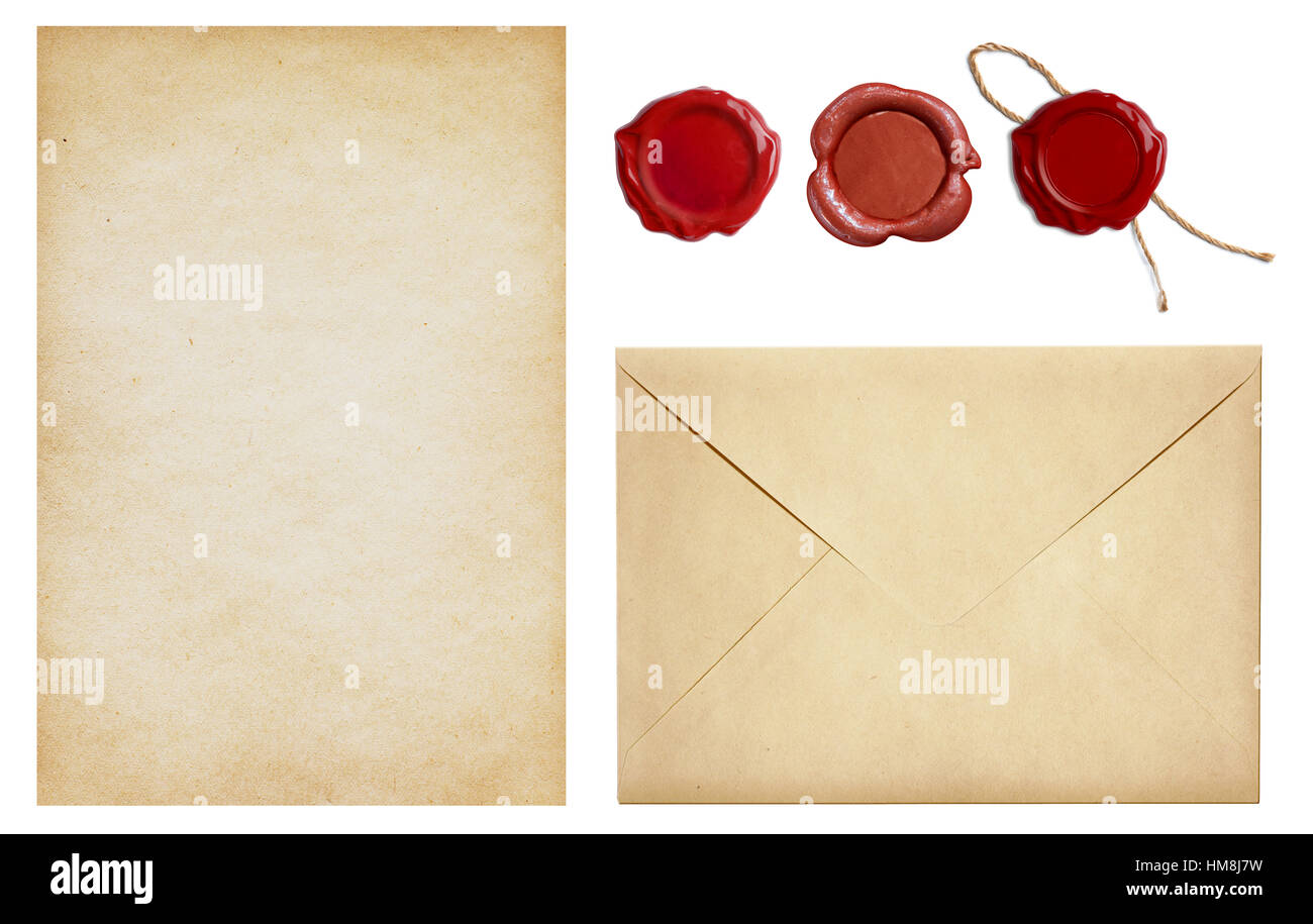 Old envelope and letter paper with wax seal stamps set isolated - Stock Image