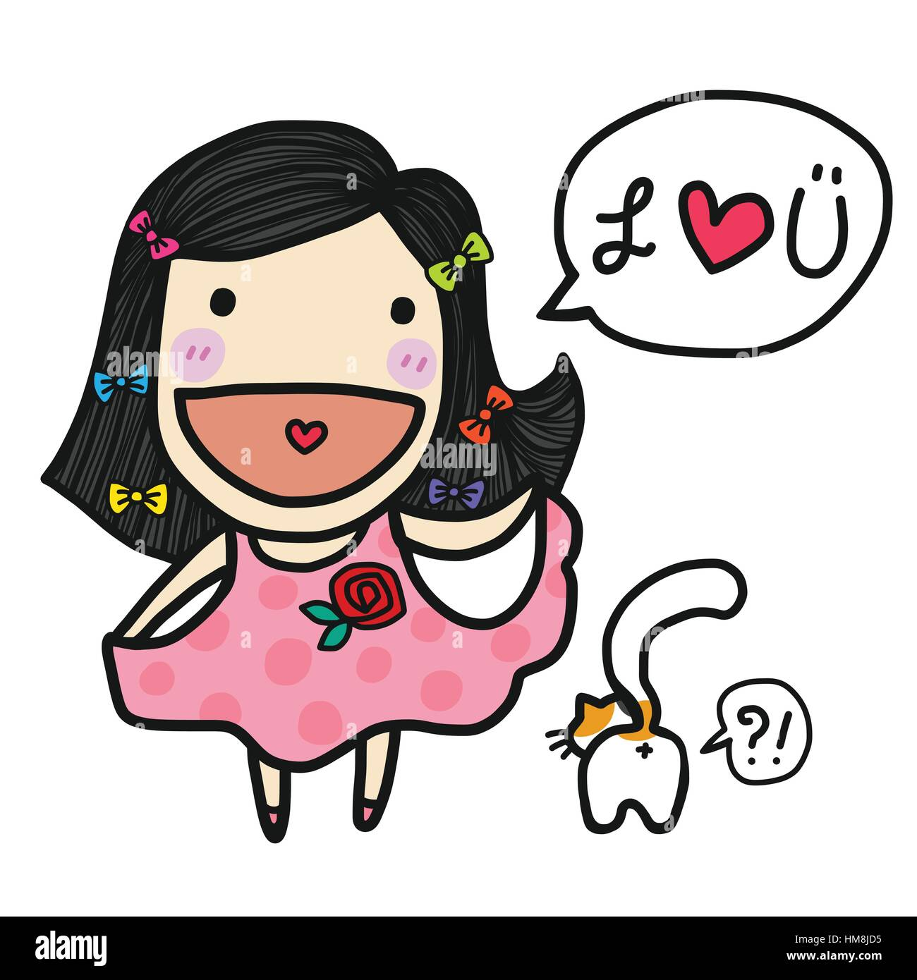 cute girl in love say i love you cartoon illustration stock vector rh alamy com I Love You This Much Clip Art I Love You Heart Drawings