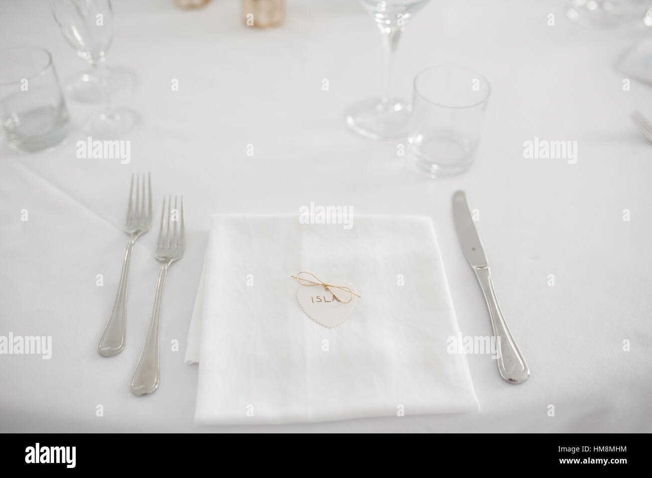 Table set decoration for wedding or event party - Stock Image