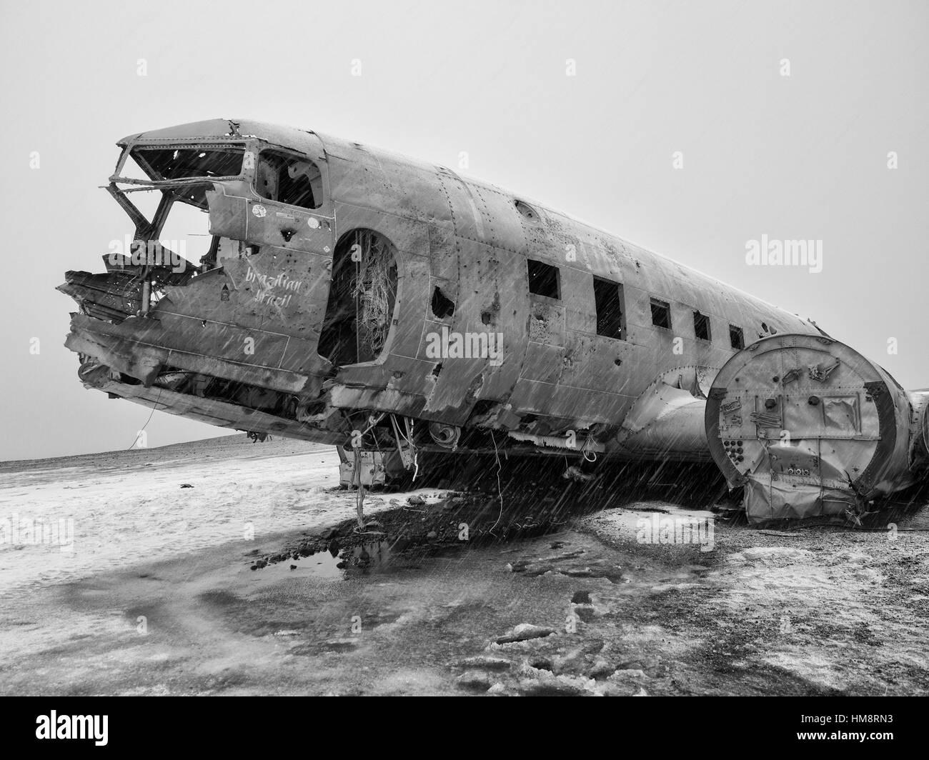 Iceland Airplane Wreckage. - Stock Image