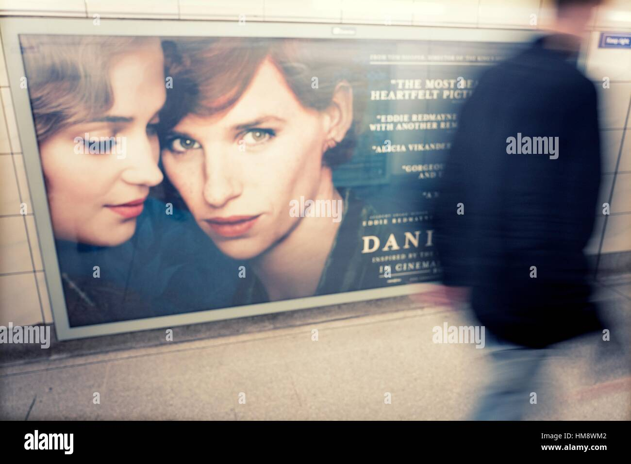 """The Danish Girl"" film poster in London Underground station. London, england Stock Photo"