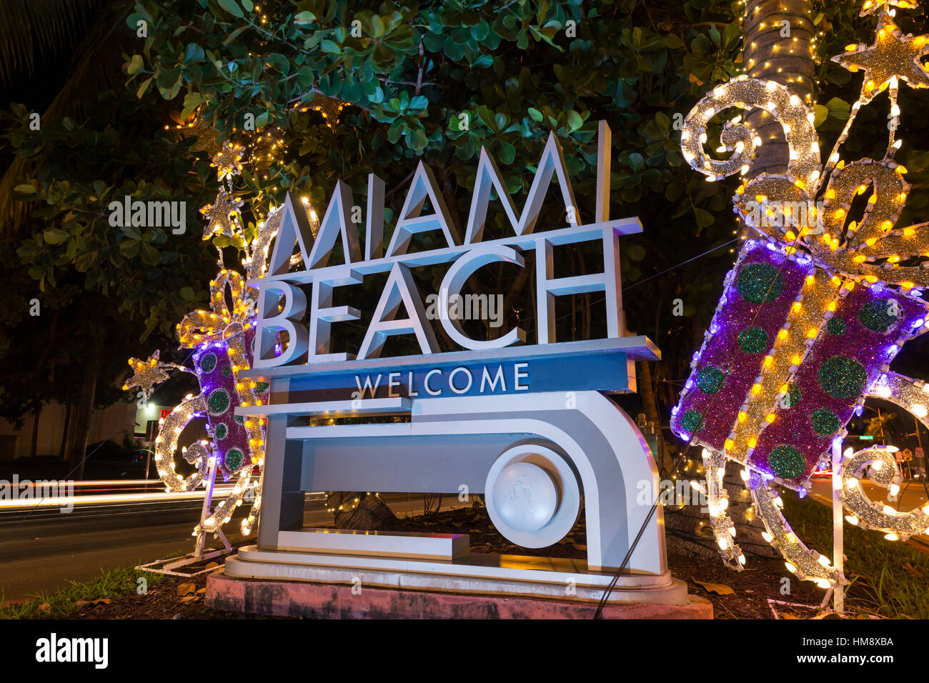 christmas decorations on welcome sign miami beach florida usa