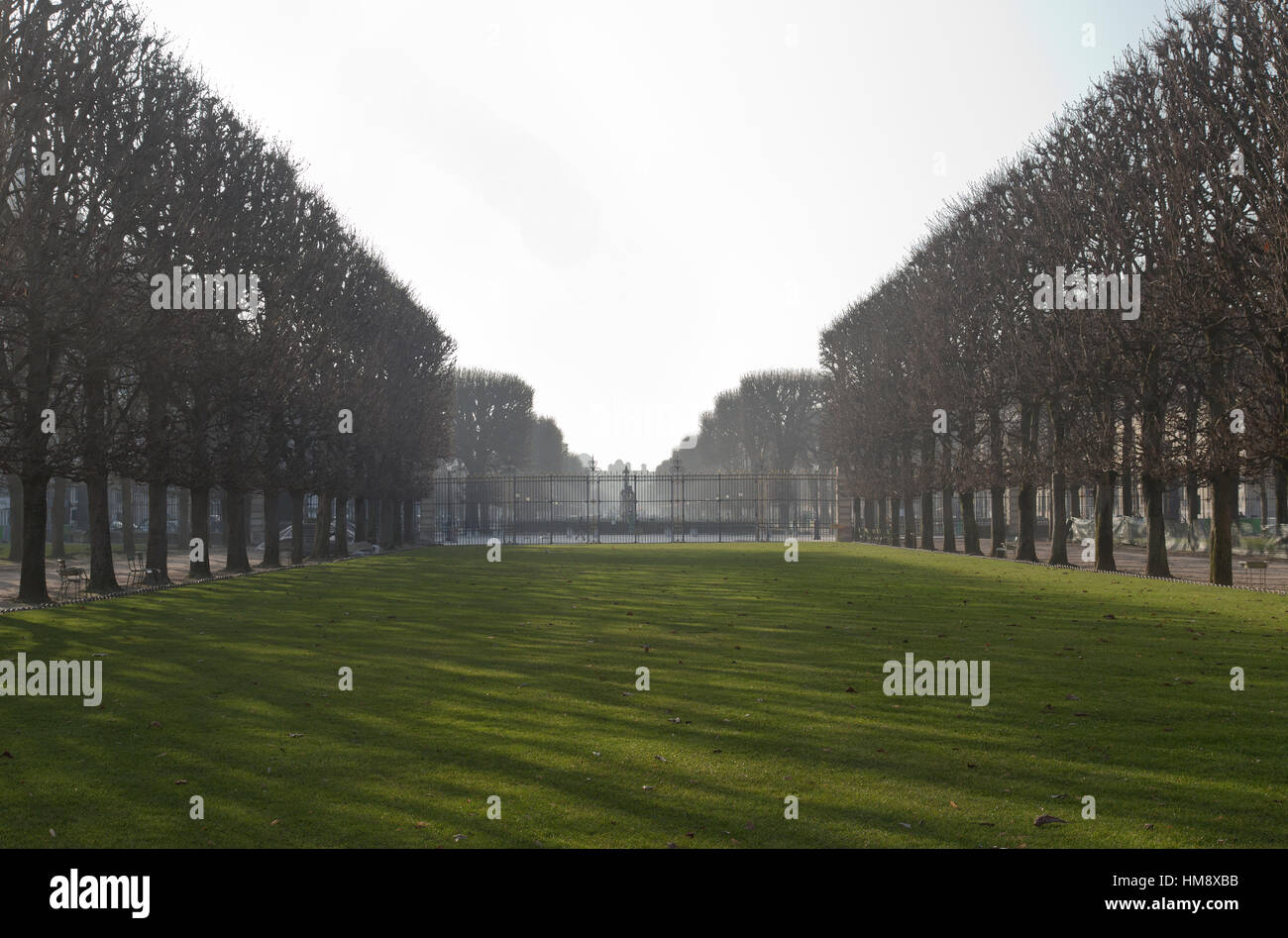 View of the Gardens of Great Explorers in Montparnasse in the 14th arrondissement of Paris in winter - Stock Image